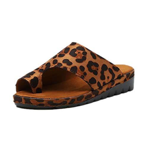 Sandalen Damen Plateau Schlappen Sommer Keilabsatz Leder Sandaletten Flache Peep Toe Strand Hausschuhe Zehentrenner Flip Flops Bequeme Leopard 42