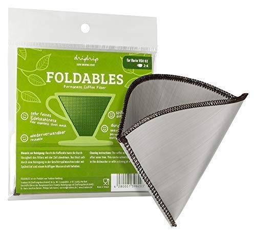 dripdrip FOLDABLES Dauerfilter für Pour Over Kaffee aus feinem Edelstahlnetz (für Hario 02, 1-4 Tassen) - Kaffee 4 Tasse Filter