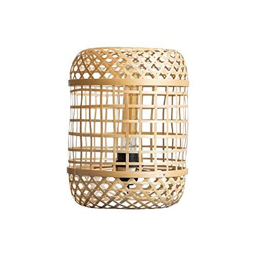 HZC Bambus Tischlampe handgewebten japanischen Stil rustikalen Retro Nachttisch Wicker Rattan Shades Weave Lampenschirm für Wohnzimmer Schlafzimmer Esszimmer Cafe Bar Club -
