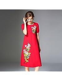 kekafu 8CFAMILY Mujer Salir de Vacaciones Estilo Boho Chinoiserie una línea Vestido Floral,Cuello Redondo