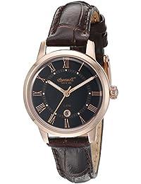 Ingersoll Quarz Frauen Quarz-Uhr mit schwarzem Zifferblatt Analog-Anzeige und braunem Lederband inq044bkrs