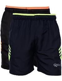 Rebizo Men's Dobby Shorts (Black, Large, Pack of 2)