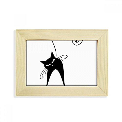 Schwarze Katzen-Liebhaber-Tier-Kunst Silhouette Desktop-HÖlz-Bilderrahmen Fotokunst-Malerei Passt 10.2 x 15.2cm (4 x 6 Zoll) Bild Mehrfarbig ()