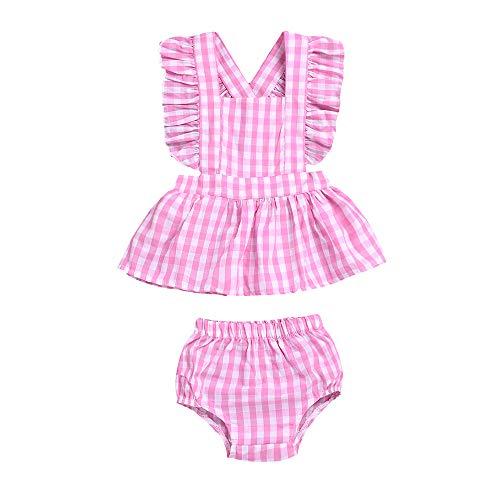 Anywow Säuglings Baby Mädchen Backcross Plaid Rüschen Rosa Tops Kleid + Bubble Slip Kleidung Set Sunsuit Kleidung 0-4J Bubble Sunsuit