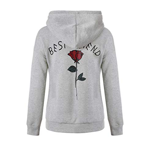 BASACA Damen Kapuzenpullover Frauen Rose Hoodie Mantel Top Bluse Buchstabenmuster Sweatshirt Oberteile Langarm Outwear Hemd Pulli Pullover Mode (S, Grau) (Old School Monster Kostüm)