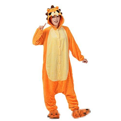 JYSPORT Einhorn-Pyjama für Cosplay-Kostüm, Unisex, Fleece, Kapuzen-Pyjama für Kinder, Damen, Mann S löwe (Kind Löwe Pyjama Kostüme)
