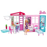 Barbie FXG55 Doll and Dollhouse, Portable 1-Story Playset, with Pool, Multi-Coloured