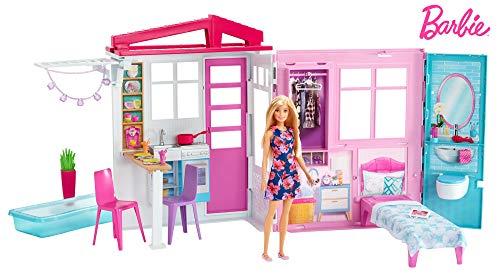 Barbie  loft con bambola, casa a 1 piano, portatile con piscina e accessori, giocattolo per bambine da 3 + anni, fxg55