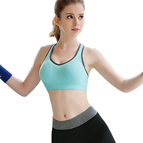Keysui Yoga Gilet, Femmes Soutien-gorge rembourré Top Athletic Gilet Fitness Sport Yoga stretch Bleu