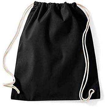 86b2e2d30a6eb Turnbeutel unbedruckt aus Baumwolle 12 Farben verfügbar Sportbeutel  (schwarz)