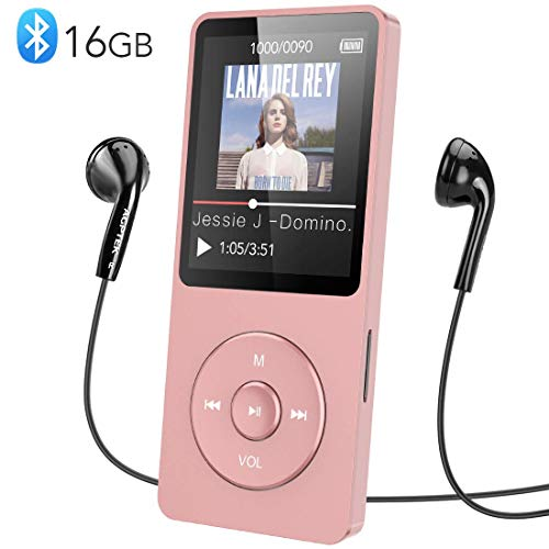MP3 Player, AGPTEK 16GB Bluetooth 4.0 MP3 Player mit Kopfhörern, 1.8 Zoll 70 Stunden Wiedergabezeit Digital Kinder MP3 Player FM Radio, bis 128G SD Karte, (Verpackung MEHRWEG), Rosegold
