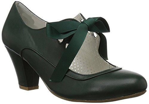Higher-Heels Pinup Couture Damen Mary Janes Wiggle-32 dunkelgrün Gr.40 - Couture-schuhe