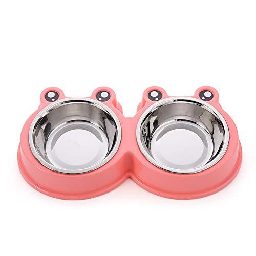 Scrox 1x Cuenco de Perro Gato Alimentos Bowl Dos Acero Inoxidable Combo Comedero para Bebedero Desmontable Comedero para Mascotas (Rosa)