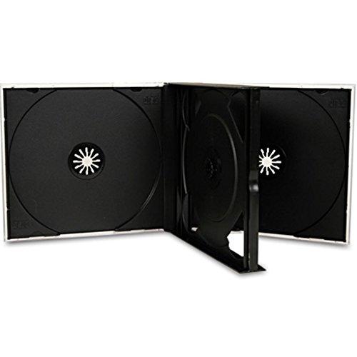 CD/DVD-Hülle für 3 CDs (25mm), Jewel Case, schwarzes Tray, 10 Stück Square Hülle Case
