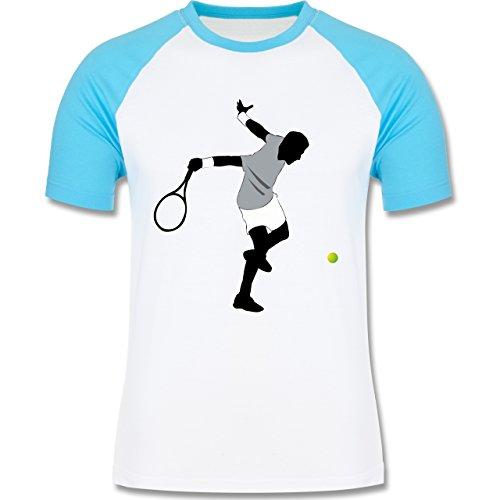 Tennis - Tennis Squash Spieler - zweifarbiges Baseballshirt für Männer Weiß/Türkis