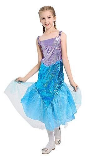 Cloud Kids Mädchen Meerjungfrau Prinzessin Kleid Halloween Ballkostüm Verkleidung Partei Kleider Cosplay Kostüm Blau Körpergröße 110-120cm