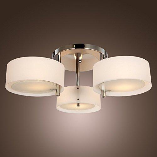 Saint Mossi® Design Modern Deckenleuchte Elegantes Deckenlampe Acryl mit Diffusion Glas Lampenschirm Wohnzimmerleuchte & Schlafzimmerleuchte Innenleuchte Breite 64cm Höhe: 23cm Kronleuchter 3 * E27 Base Bulbs Erforderlich
