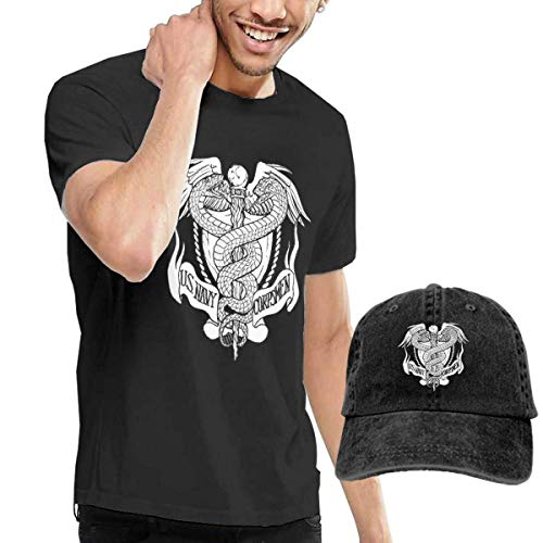 HappyLifea US Navy Hospital Corpsman Rating Men's Short Sleeve T Shirt & Washed Adjustable Baseball Cap Hat -