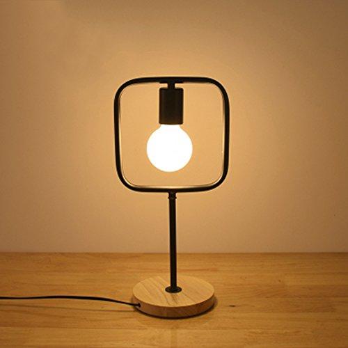 Pointhx Moderne minimaliste Fer Forgé LED E27 Lampe de Bureau Lumière En Bois Base Table Lumière Géométrie Cadre Chambres Salon Chevet Bureau Lampe Lecture avec Interrupteur à Bouton ( Taille : Rectangle )