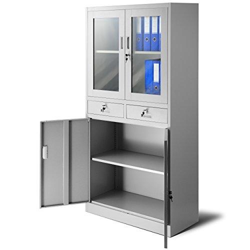 Aktenschrank C017 mit 2 Schubladen Medizinschrank Büroschrank 2 Abeteile Pulverbeschichtung Stahlblech 185 cm x 90 cm x 40 cm (grau/grau)