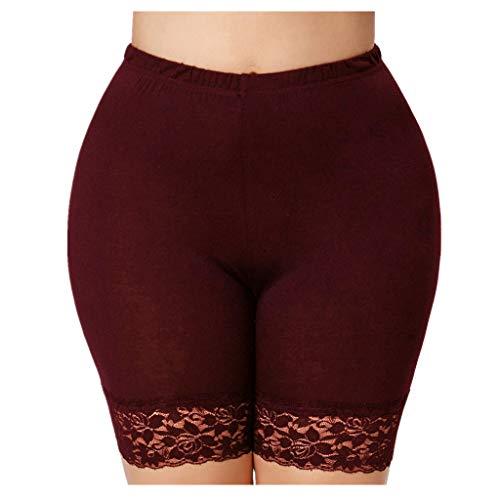KUDICO Damen Shorts Basic Solide Casual Spitze Kurze Hose Elastische Taille Slim Fit Stretch Leggings Hot Pants Sommerhose Badehose Unterhose(Weinrot 2, X-Large)