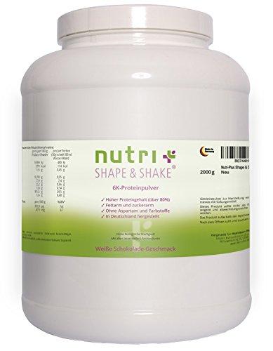 Nutri-Plus Shape & Shake Weiße Schokolade 2kg - Protein ohne Aspartam - Mit Whey + Casein - Dose inkl. Messlöffel