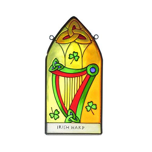 8-stained-glass-hanging-panel-with-irish-harp-design