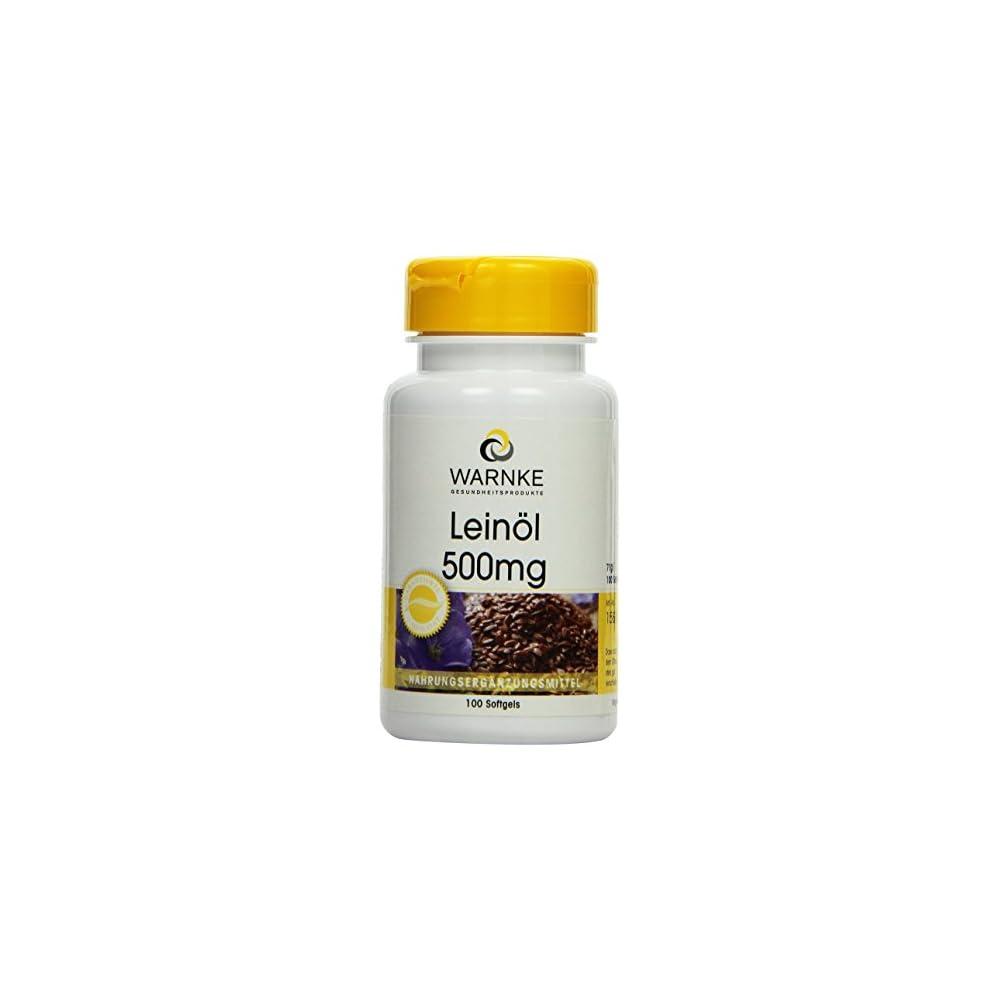 Warnke Gesundheitsprodukte Leinl 500 Mg Kaltgepresst 58 Prozent Alpha Linolensure Omega 3 Fettsure 100 Softgels 1er Pack 1 X 71 G
