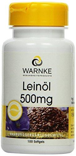 Warnke Gesundheitsprodukte Leinöl 500 mg, kaltgepresst, 58 prozent Alpha-Linolensäure (Omega-3-Fettsäure), 100 Softgels, 1er Pack (1 x 71 g)