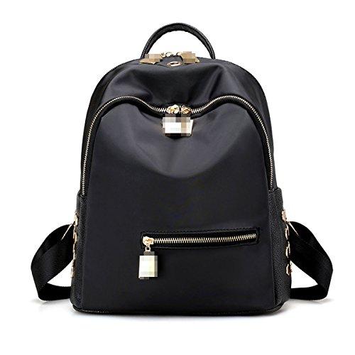 Frauen Mode Niet Mini Pu-leder Rucksack Umhängetasche College Handtasche Rucksack Black5