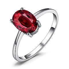 Idea Regalo - JewelryPalace Ovale 1.7ct Naturale Rosso Granato Birthstone Solitario Anello Genuino 925 Sterling Argento 17