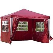 Kronenburg Handel Kronenburg Steck-Pavillon Gartenzelt 3 x 3 m Wasserdicht Partyzelt mit 4 Seitenteilen in Rot