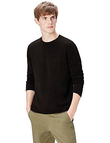 FIND Pullover Herren gerollter Saum und runder Ausschnitt Schwarz