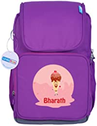 UniQBees Personalised School Bag With Name (Smart Kids Large School Backpack-Purple-Cherry Cone)