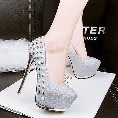 Moda Donna Sandali Sexy donna tacchi Comfort / Round Toe / punta chiusa Casual Stiletto Heel Rivetto nero / rosa / argento / oro Silver