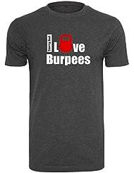 EMOM I love burpees (Sorry, but) gut sitzendes Sport T-Shirt für Herren von EMOM Fitness(Schwarz, Dunkelgrau oder Hellgrau in Größe S,M,L,XL oder XXL)