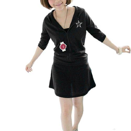 Femme étoile Décor Front à capuche Manches Courtes Mini Robe noir XS Noir