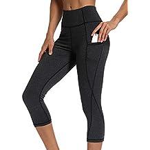 9bff35458d INSTINNCT Damen Doppeltaschen Sport Leggings 3/4 Yogahose Sporthose  Laufhose Training Tights mit Handytasche