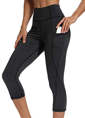 INSTINNCT Damen Doppeltaschen Sport Leggings 3/4 Yogahose Sporthose Laufhose Training Tights mit Handytasche Capris(upgrade) - Dunkelgrau L -