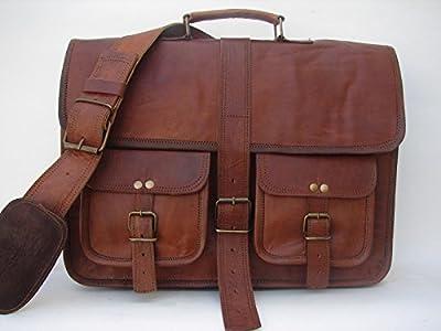 ANUENT Sacoche pour ordinateur portable vintage en cuir souple Marron