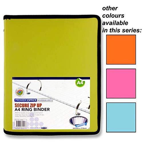 Premier Office - Archivador de 2 anillas, A4, con cremallera, 4 colores surtidos