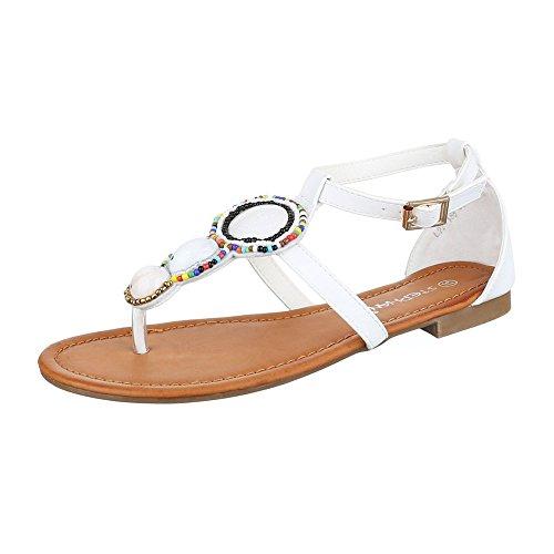 Zehentrenner Damen Schuhe Peep-Toe Blockabsatz Zehentrenner Schnalle Ital-Design Sandalen / Sandaletten Weiß