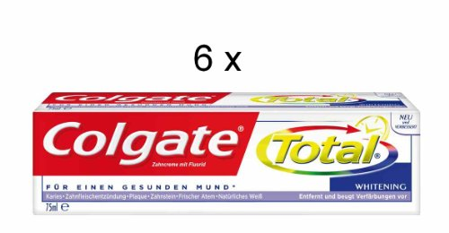 6 Colgate Total Zahncreme Whitening je 75 ml