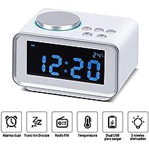 Wonyered Reloj Despertador Digital Radio FM con Alarma Dual Digital Pantalla LCD Regulable y Termómetro de