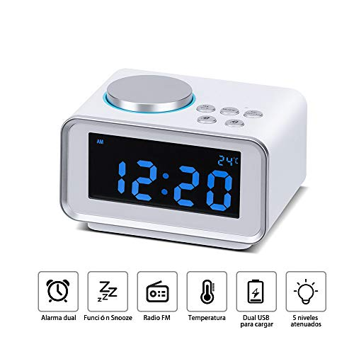 Wonyered Reloj Despertador Digital Radio FM con