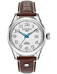 Roamer Men's Automatic Watch with Silver Dial Analogue Display and Brown Leather Strap 545660 41 16 05