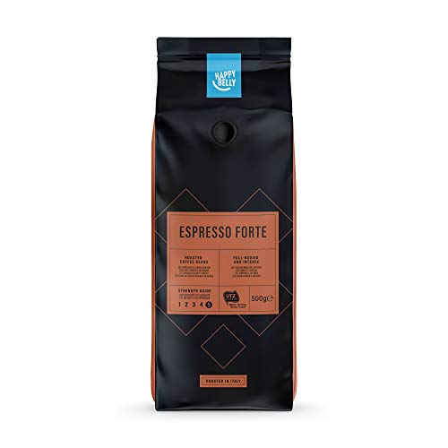"Marca Amazon - Happy Belly Café de tueste natural en grano ""Espresso Forte"" (2 x 500g)"