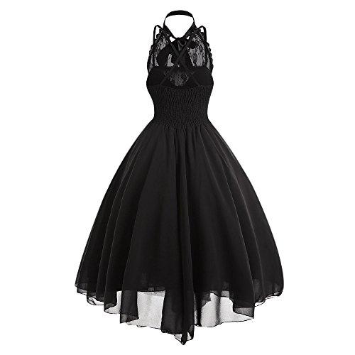 Vestido Mujer Elegante Vintage Encaje Floral Vestido Gótica Renacimiento Cuello Halter Vestido de Trapecio sin Manga para Fiesta Cóctel, Negro, XL