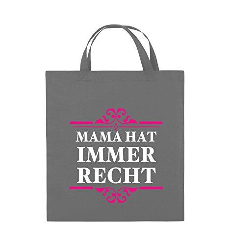 Comedy Bags - Mama hat immer recht - Jutebeutel - kurze Henkel - 38x42cm - Farbe: Schwarz / Weiss-Neongrün Dunkelgrau / Weiss-Pink