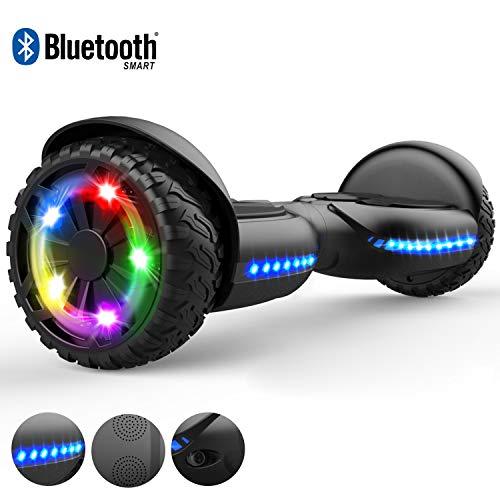 RCB Hoverboard Scooter Elettrico da 6,5 Pollici per Bambino Adulto con luci Lampeggianti Pneumatico Robusto Bluetooth